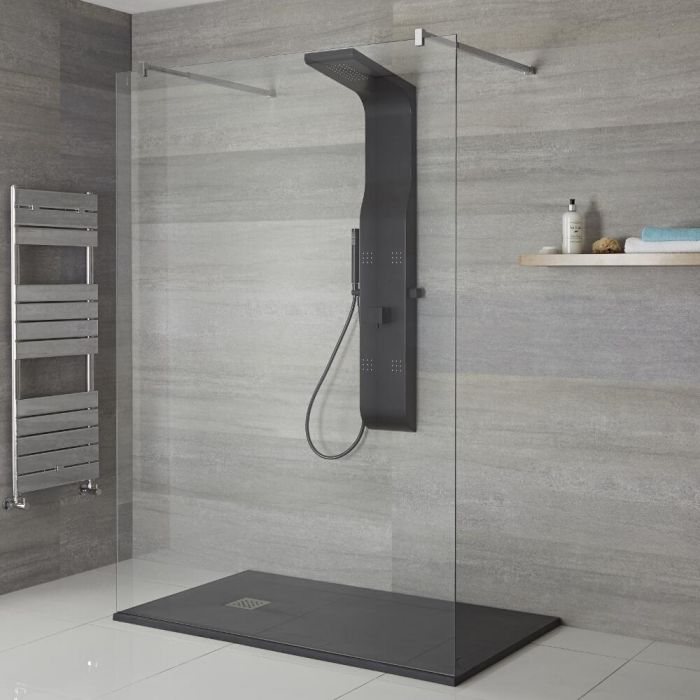 Milano Dalton - Modern Exposed Shower Tower Panel with Large Shower Head, Hand Shower and Body Jets - Black