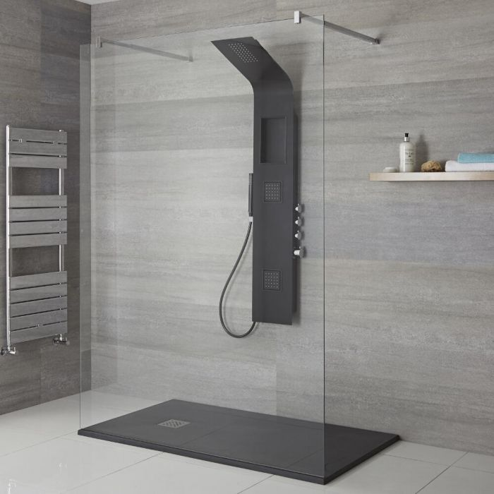Milano Orton - Modern Exposed Shower Tower Panel with Shelf, Large Shower Head, Hand Shower and Body Jets - Black