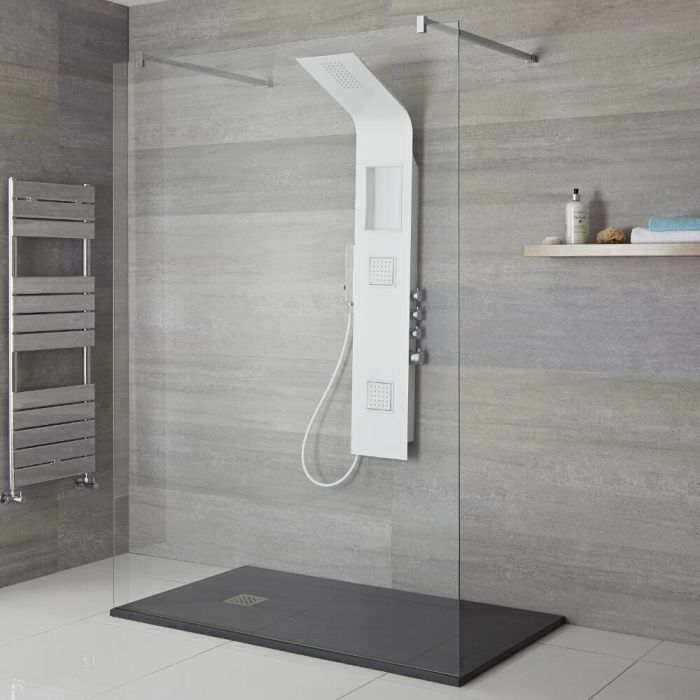 Milano Orton - Modern Exposed Shower Tower Panel with Shelf, Large Shower Head, Hand Shower and Body Jets - White