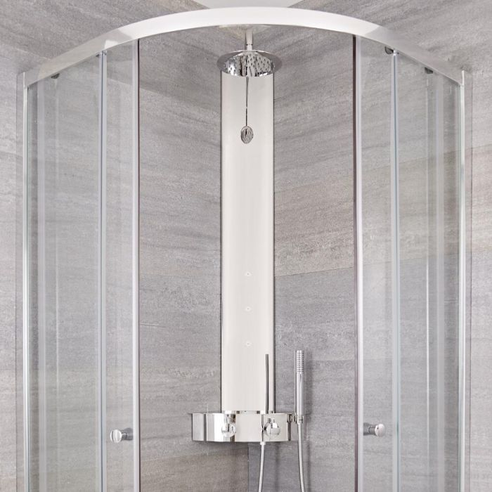 Milano Astley - Modern Thermostatic Exposed Corner Shower Tower Panel with Hand Shower, Body Jets and Shelf - Chrome