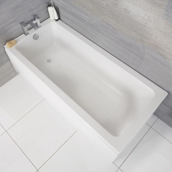Milano Elswick - White Modern Standard Single Ended Bath - Choice of Sizes
