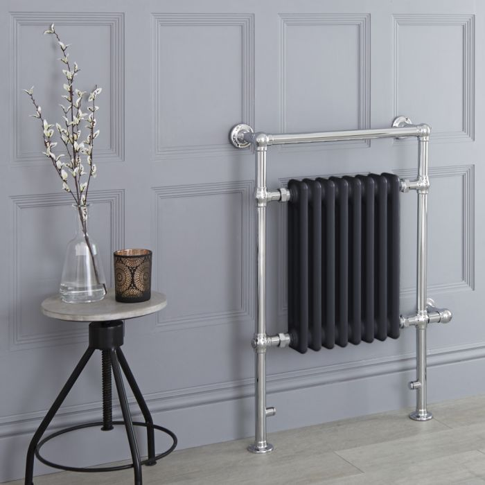 Milano Trent - Anthracite Traditional Electric Heated Towel Rail - 930mm x 620mm (Flat Top Rail)