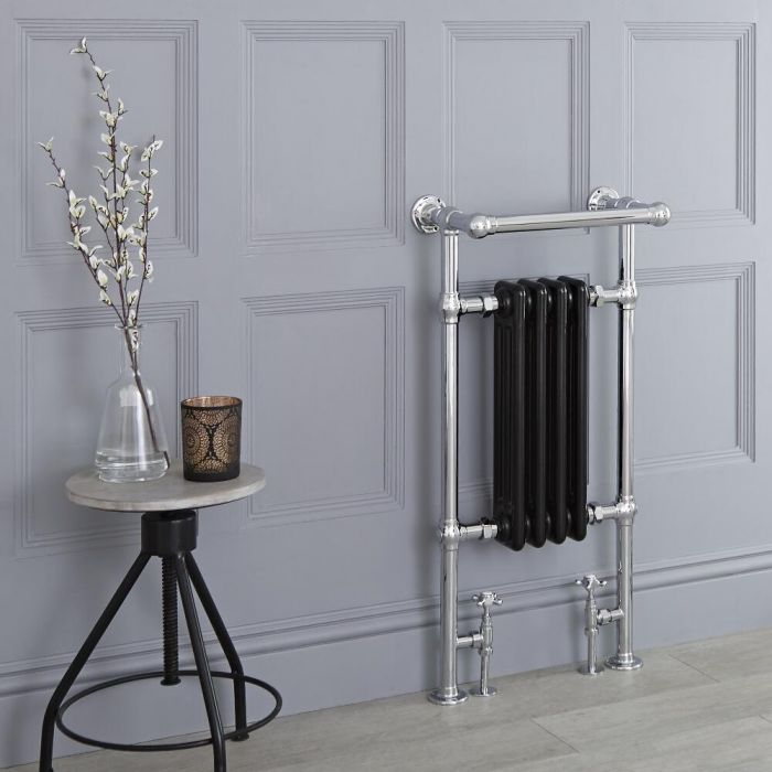 Milano Trent - Black Traditional Heated Towel Rail - 930mm x 452mm (With Overhanging Rail)