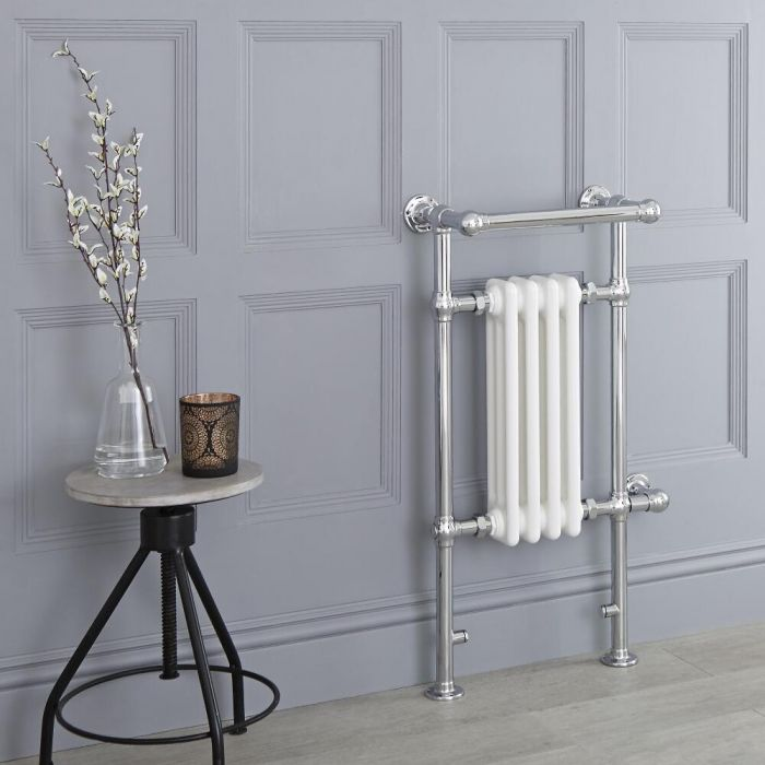 Milano Trent - White Traditional Electric Heated Towel Rail - 930mm x 450mm (With Overhanging Rail)