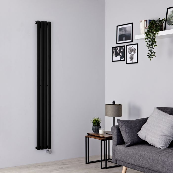 Milano Aruba Slim Electric - Black Vertical Designer Radiator - 1780mm x 236mm