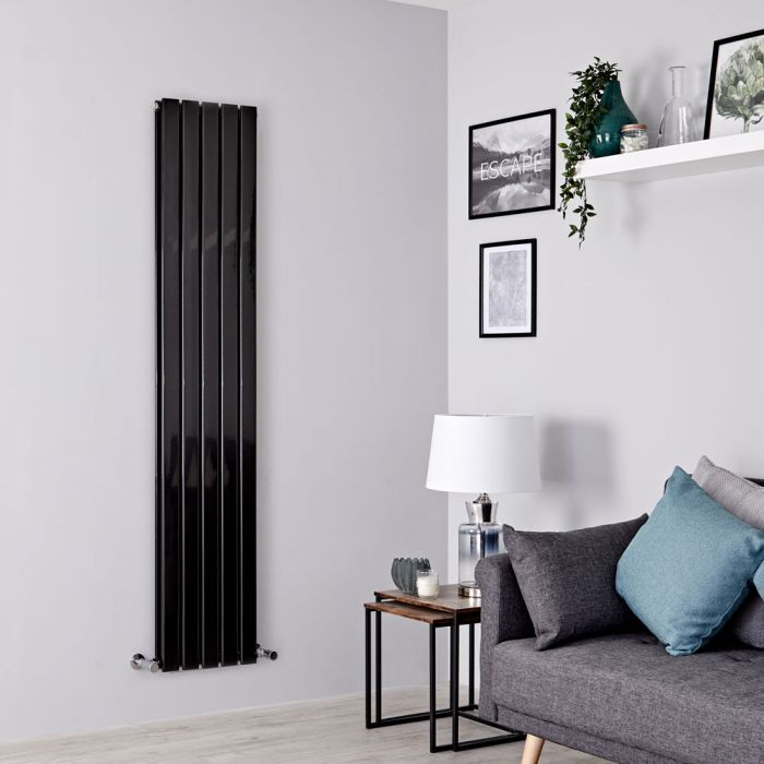 Milano Alpha - Black Flat Panel Vertical Designer Radiator - 1780mm x 350mm (Double Panel)