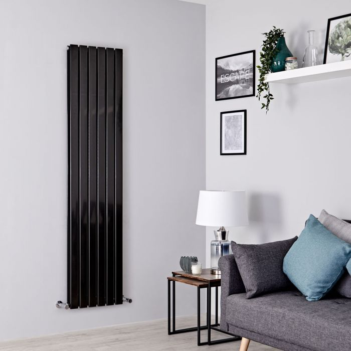 Milano Alpha - Black Flat Panel Vertical Designer Radiator - 1780mm x 420mm (Double Panel)
