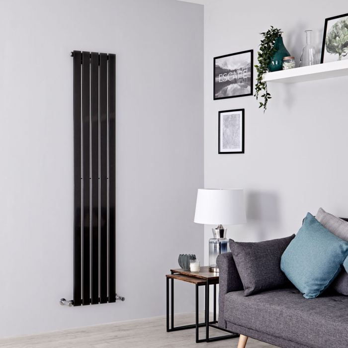 Milano Alpha - Black Flat Panel Vertical Designer Radiator - 1780mm x 350mm