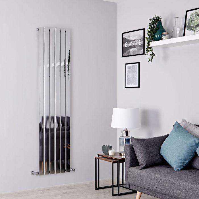 Milano Alpha - Chrome Flat Panel Vertical Designer Radiator - 1800mm x 450mm