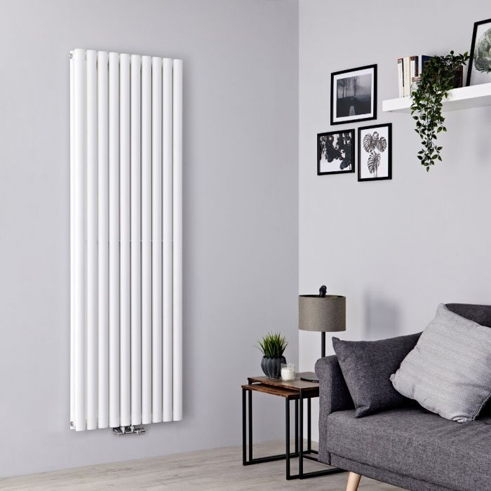 Milano Aruba Flow - White Vertical Middle Connection Designer Radiator - 1780mm x 590mm (Double Panel)