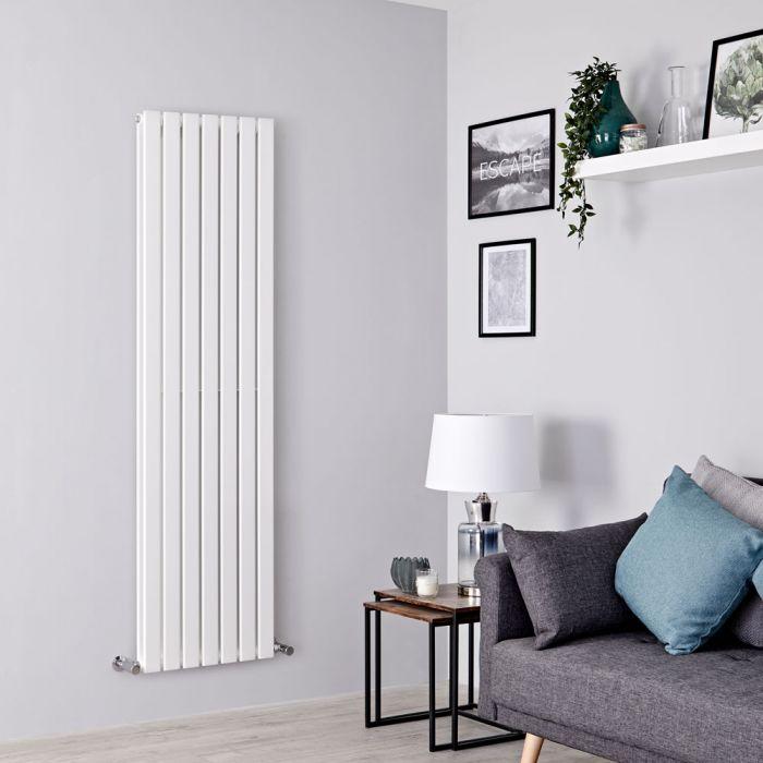 Milano Alpha - White Flat Panel Vertical Designer Radiator - 1780mm x 490mm (Double Panel)