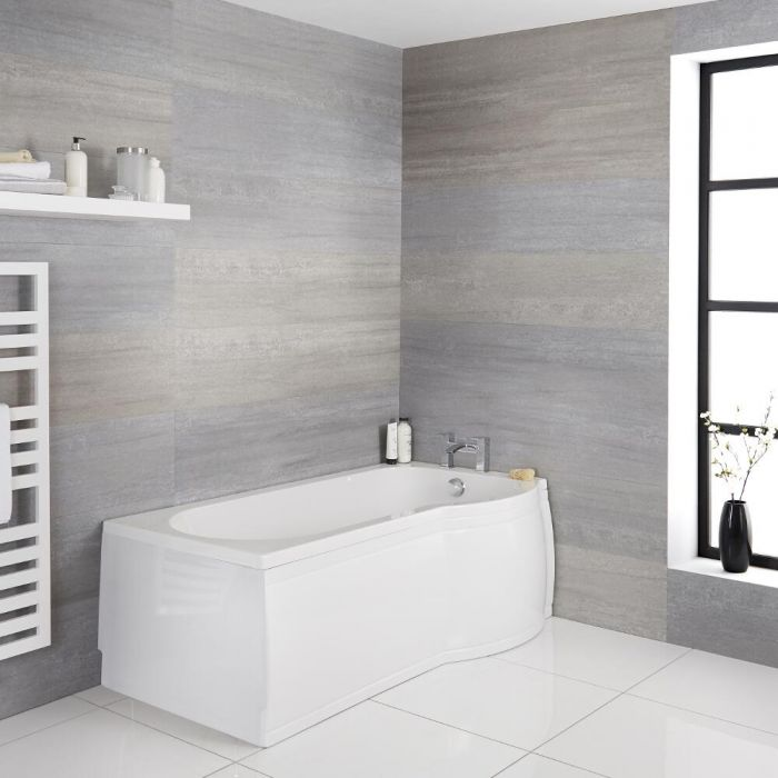 Milano Newby - White Modern Right Hand P-Shape Shower Bath with Panels - 1500mm x 800mm (No Tap-Holes)