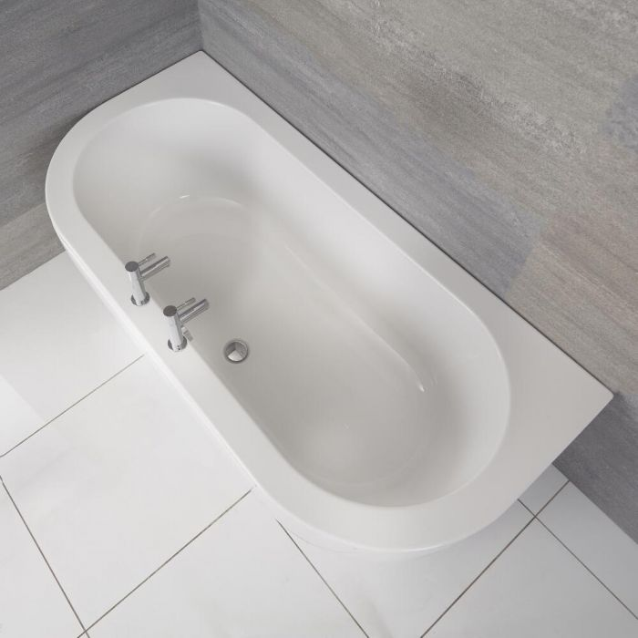 Milano Mellor - White Modern Curved D -Shape Bath and Panel - 1700mm x 800mm
