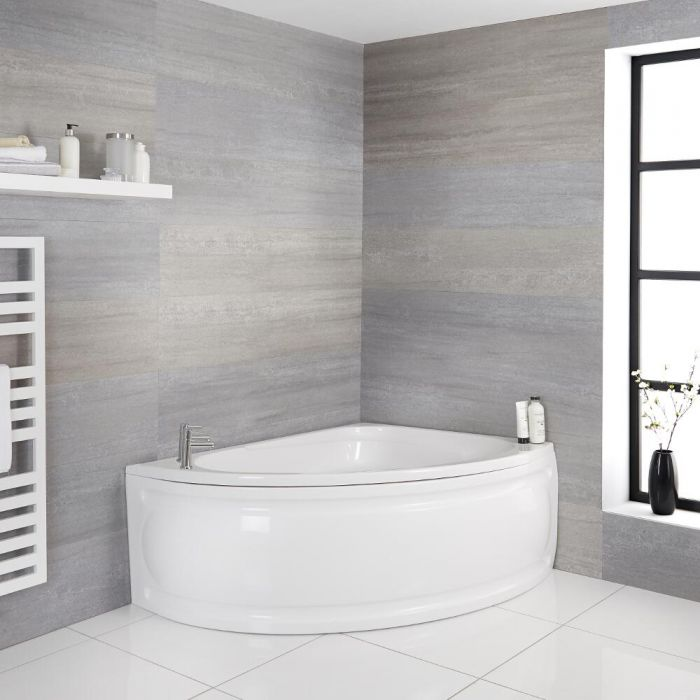 Milano Newby - White Modern Right Hand Corner Bath with Panel - 1500mm x 1020mm