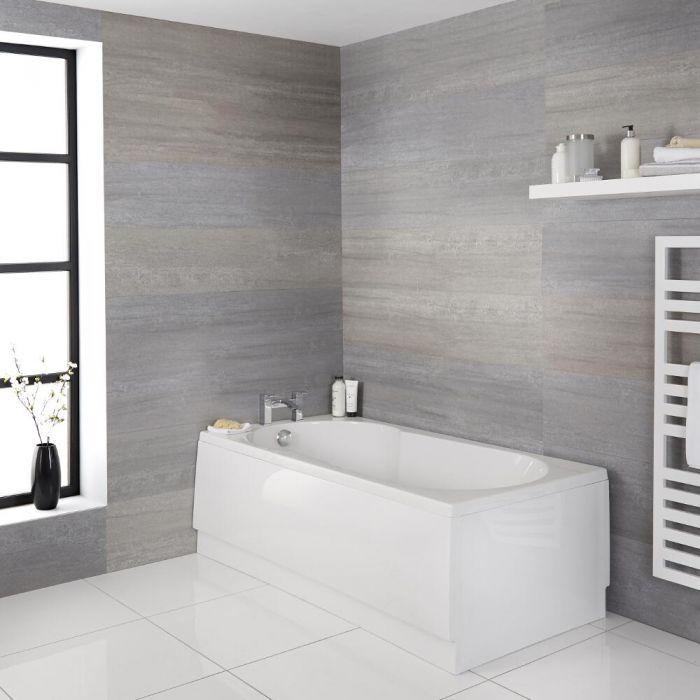 Milano Mellor - White Modern Keyhole Anti-Slip Standard Bath - 1700mm x 800mm