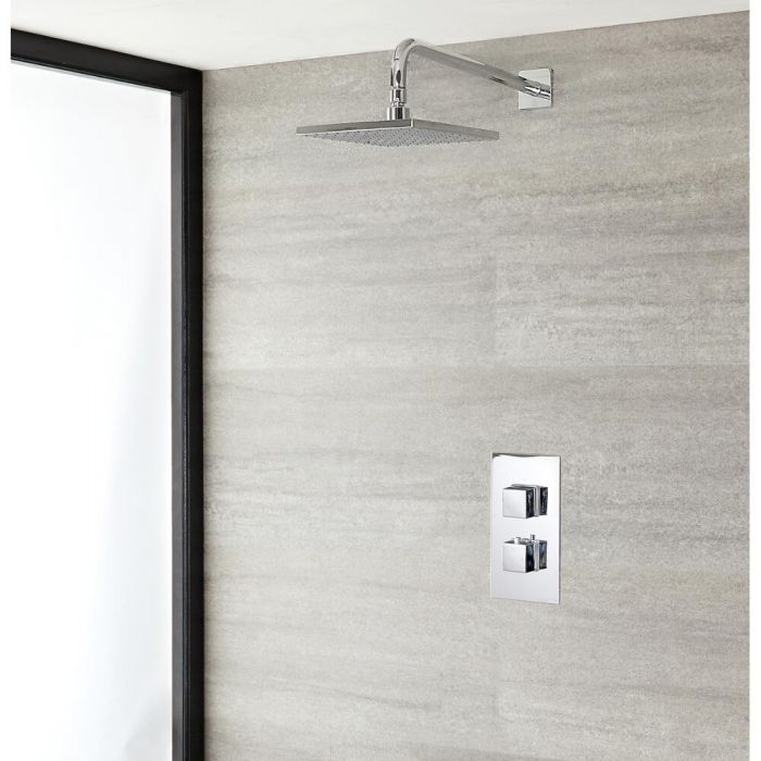 Milano Arvo - Modern Square Twin Thermostatic Valve With 200mm Shower Head and Wall Arm - Chrome