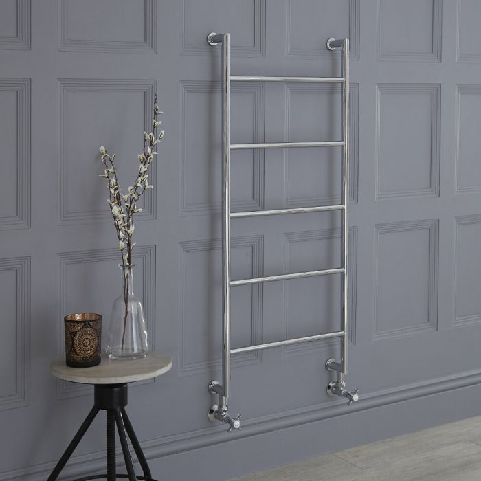Milano Derwent - Traditional Brass Minimalist Heated Towel Rail - 1110mm x 500mm