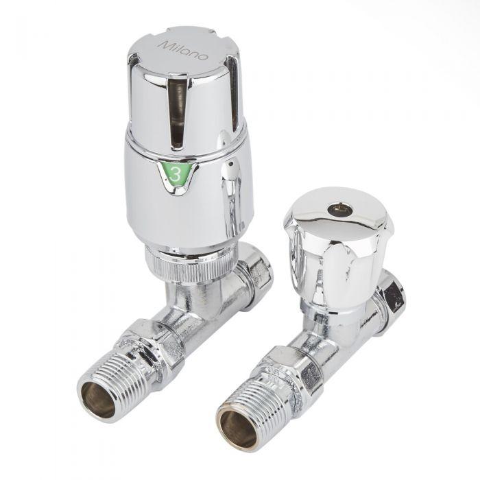 Milano - Chrome Thermostatic Straight Radiator Valves (Pair)