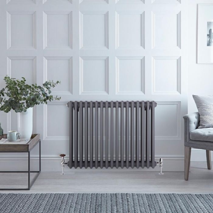 Milano Windsor - Anthracite Horizontal Traditional Column Radiator - 600mm x 785mm (Triple Column)