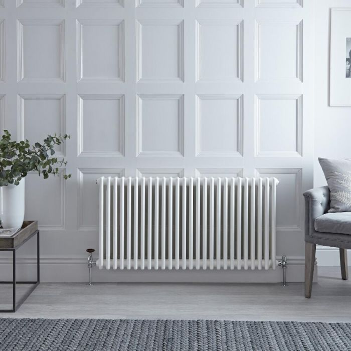 Milano Windsor - White Horizontal Traditional Column Radiator - 600mm x 1190mm (Four Column)