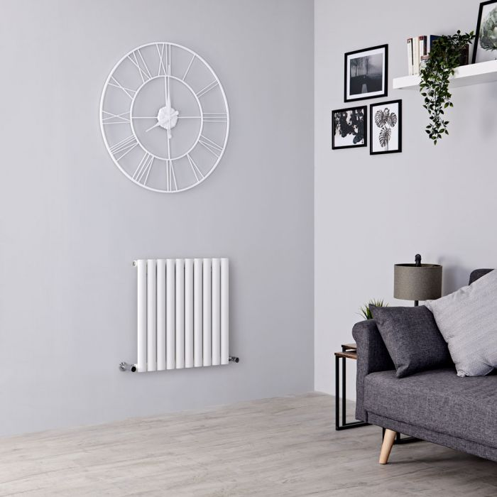 Milano Aruba Aiko - White Horizontal Designer Radiator - 600mm x 595mm