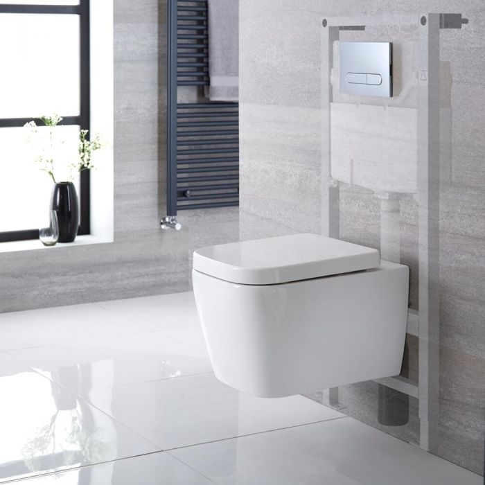 Milano Longton - White Modern Wall Hung Toilet with Tall Wall Frame - Choice of Flush Plate