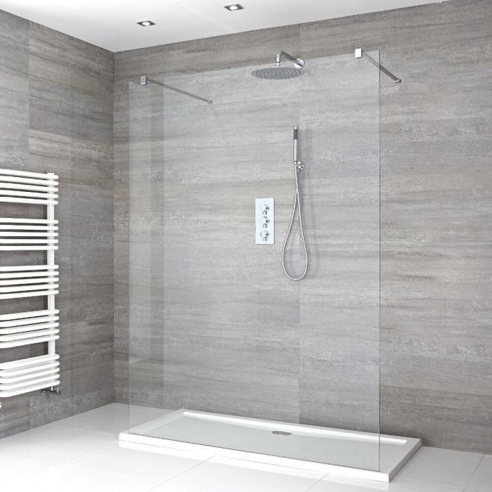 Milano Portland - Floating Walk-In Shower Enclosure with Low Profile Tray - Choice of Sizes
