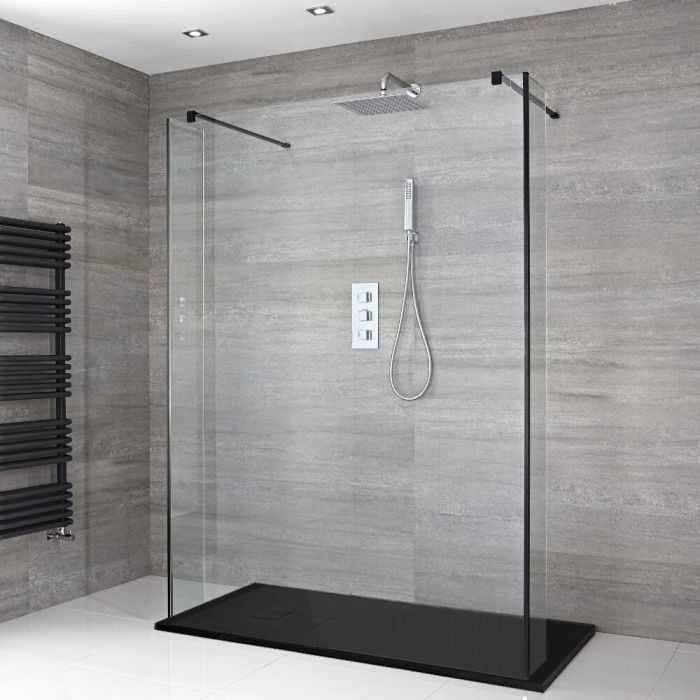 Milano Nero - Floating Walk-In Shower Enclosure with Slate Tray and Hinged Return Panels - Choice of Sizes