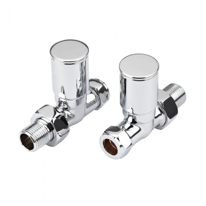 Milano - Chrome Modern Straight Radiator Valves (Pair)
