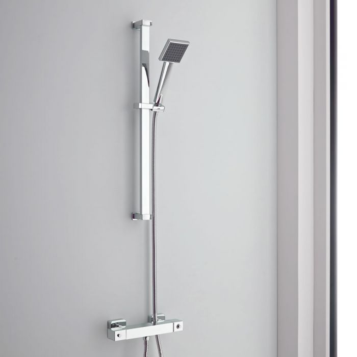 Milano Arvo - Chrome Thermostatic Mixer Shower with Square Hand Shower and Riser Rail (1 Outlet)
