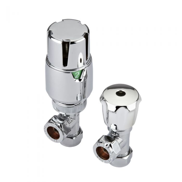 Milano - Thermostatic Chrome Angled Radiator Valves with Safety Cap (Pair)