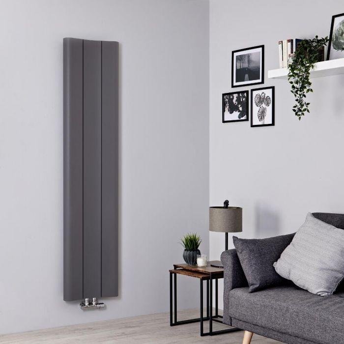 Milano Solis - Aluminium Light Grey Vertical Designer Radiator - 1600mm x 370mm