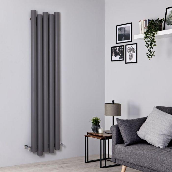 Milano Motus - Aluminium Light Grey Vertical Designer Radiator - 1800mm x 390mm