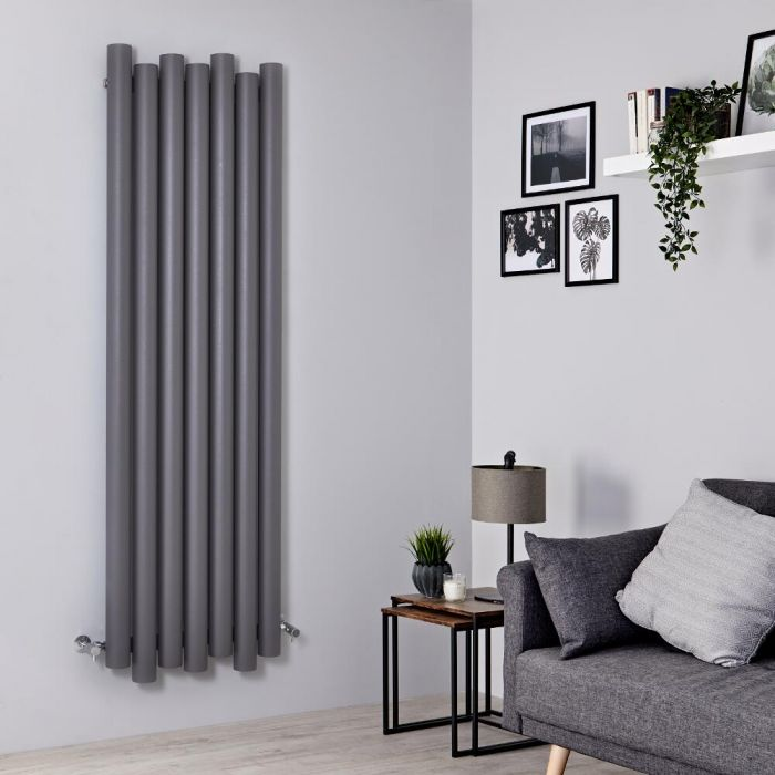 Milano Motus - Aluminium Light Grey Vertical Designer Radiator - 1800mm x 550mm