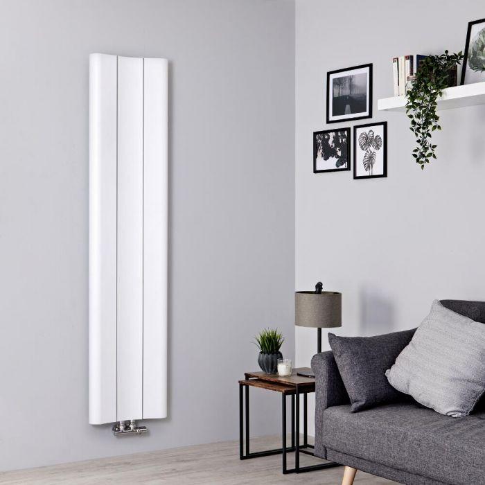 Milano Solis - Aluminium White Vertical Designer Radiator - 1600mm x 370mm