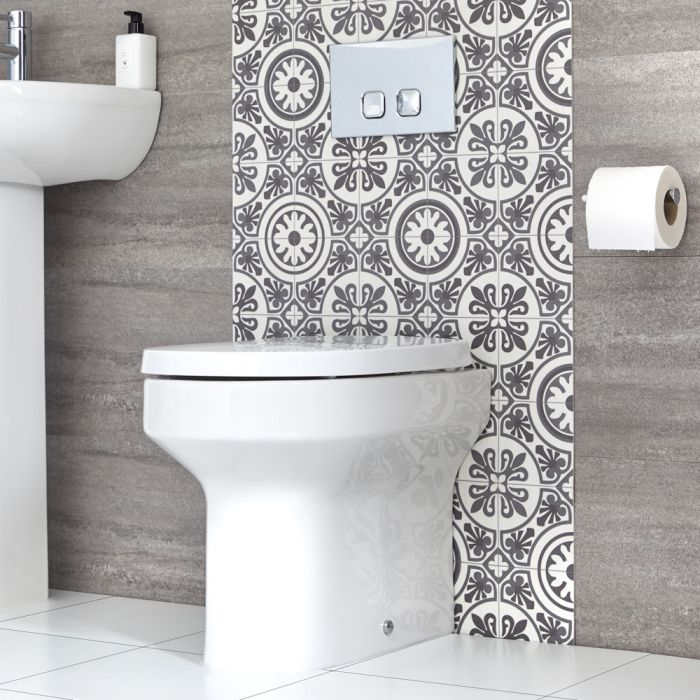 Milano Ballam - Modern Oval Back to Wall Toilet with Soft Close Seat