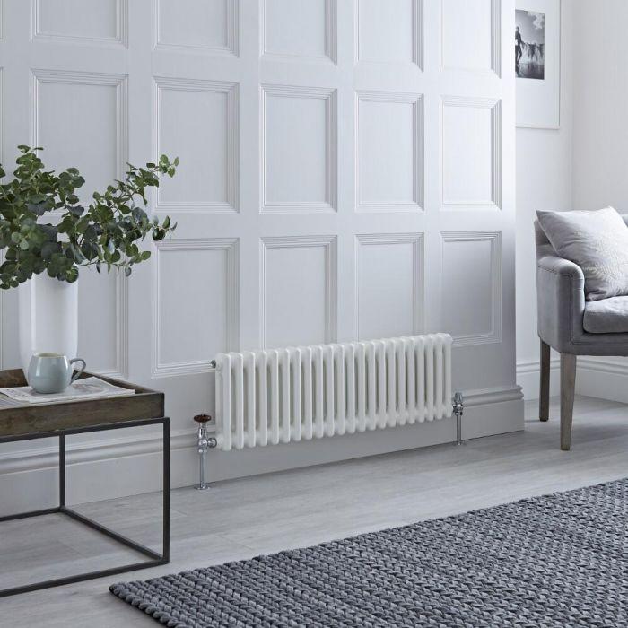 Milano Windsor - White Horizontal Traditional Column Radiator - 300mm x 1010mm (Double Column)