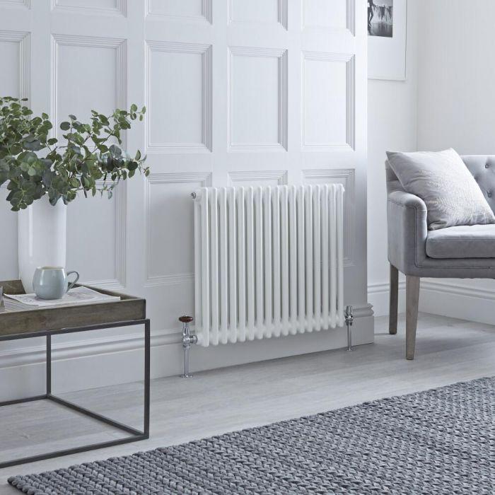 Milano Windsor - White Horizontal Traditional Column Radiator - 600mm x 785mm (Double Column)
