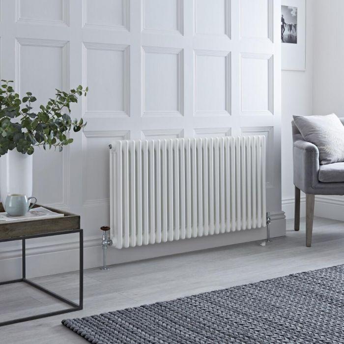 Milano Windsor - White Horizontal Traditional Column Radiator - 600mm x 1190mm (Triple Column)