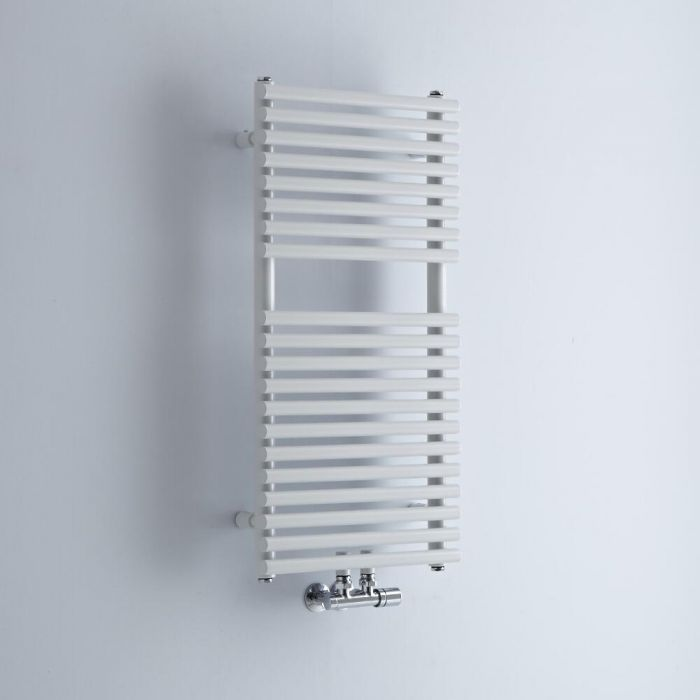 Milano Via - White Central Connection Bar on Bar Heated Towel Rail - 835mm x 400mm