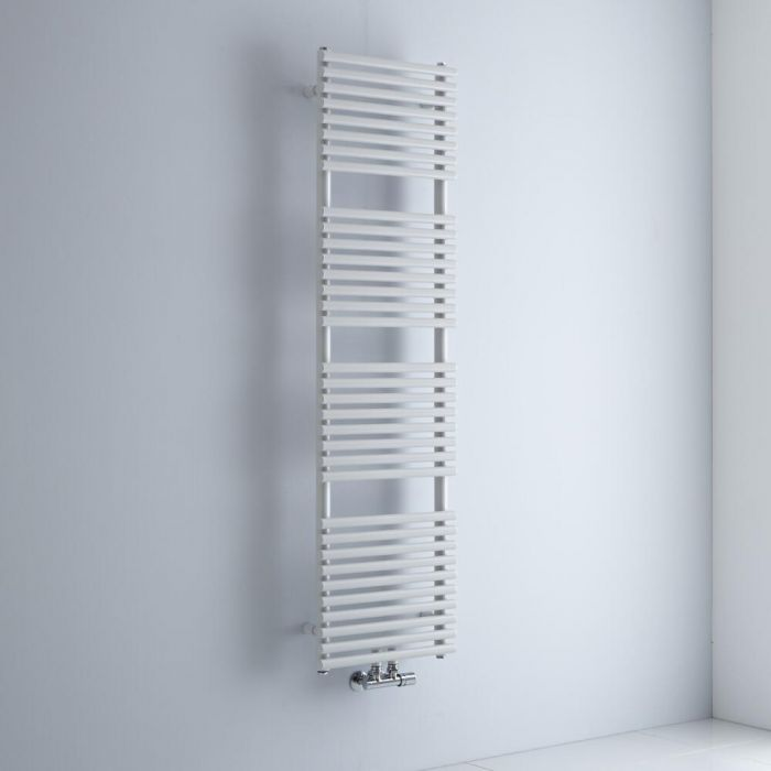 Milano Via - White Central Connection Bar on Bar Heated Towel Rail - 1520mm x 400mm