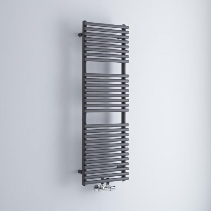 Milano Via - Anthracite Central Connection Bar on Bar Heated Towel Rail - 1215mm x 400mm