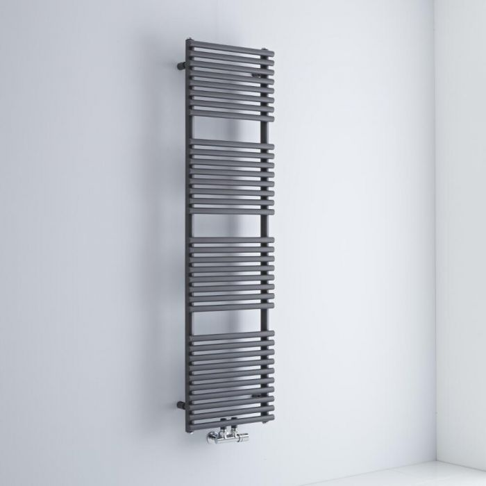 Milano Via - Anthracite Central Connection Bar on Bar Heated Towel Rail - 1520mm x 400mm