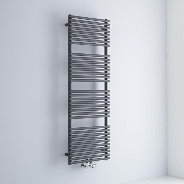 Milano Via - Anthracite Central Connection Bar on Bar Heated Towel Rail - 1520mm x 500mm