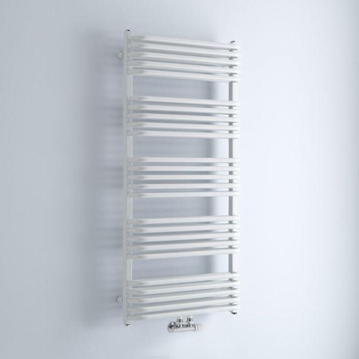 Milano Bow - White D-Bar Heated Towel Rail - 1269mm x 600mm