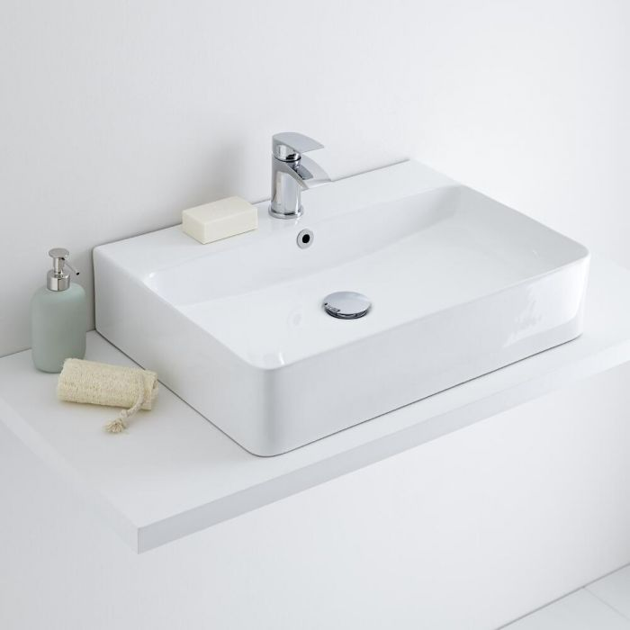 Milano Farington - White Modern Rectangular Countertop Basin - 600mm x 420mm (1 Tap-Hole)