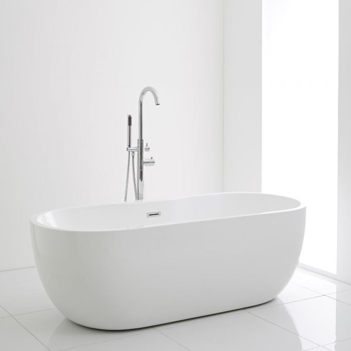 Milano Overton - White Modern Oval Double-Ended Freestanding Bath - 1555mm x 745mm
