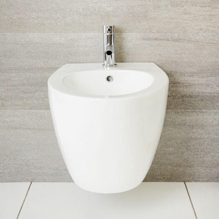 Milano Irwell - White Modern Round Wall Hung Bidet