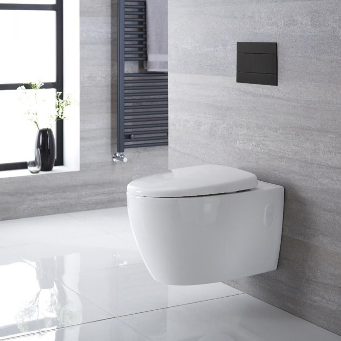 Milano Altham - White Modern Round Rimless Wall Hung Toilet with Soft Close Seat