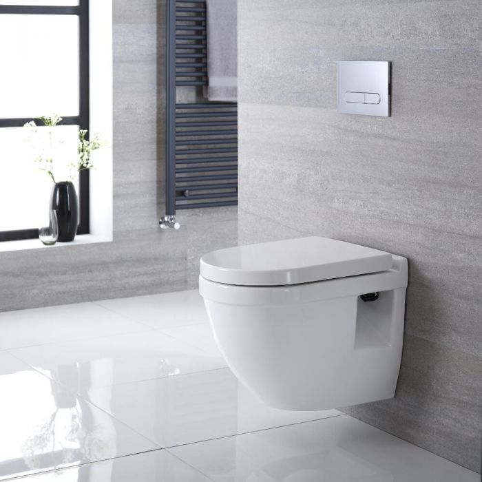 Milano Newby - White Modern Round Wall Hung Toilet with Soft Close Seat